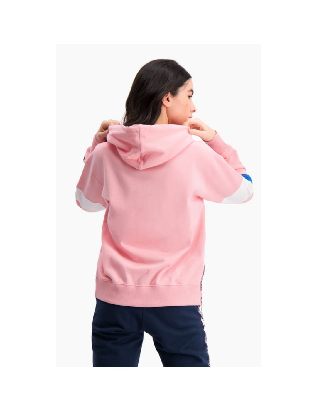 SUDADERA CHAMPION  GRAPHIC STRIPE AND COLOUR BLOCK HOODIE PINK