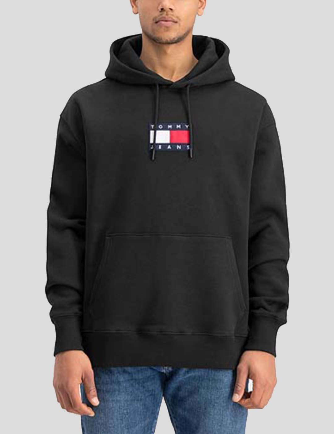 SUDADERA TOMMY JEANS SMALL FLAG HOODIE BLACK
