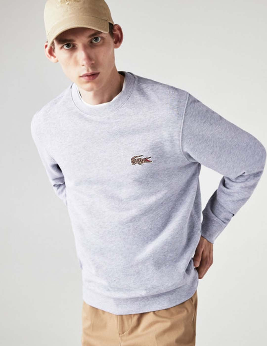 SUDADERA LACOSTE X NATIONAL GEOGRAPHIC SWEAT ARGENT CHINE/LEOPARD