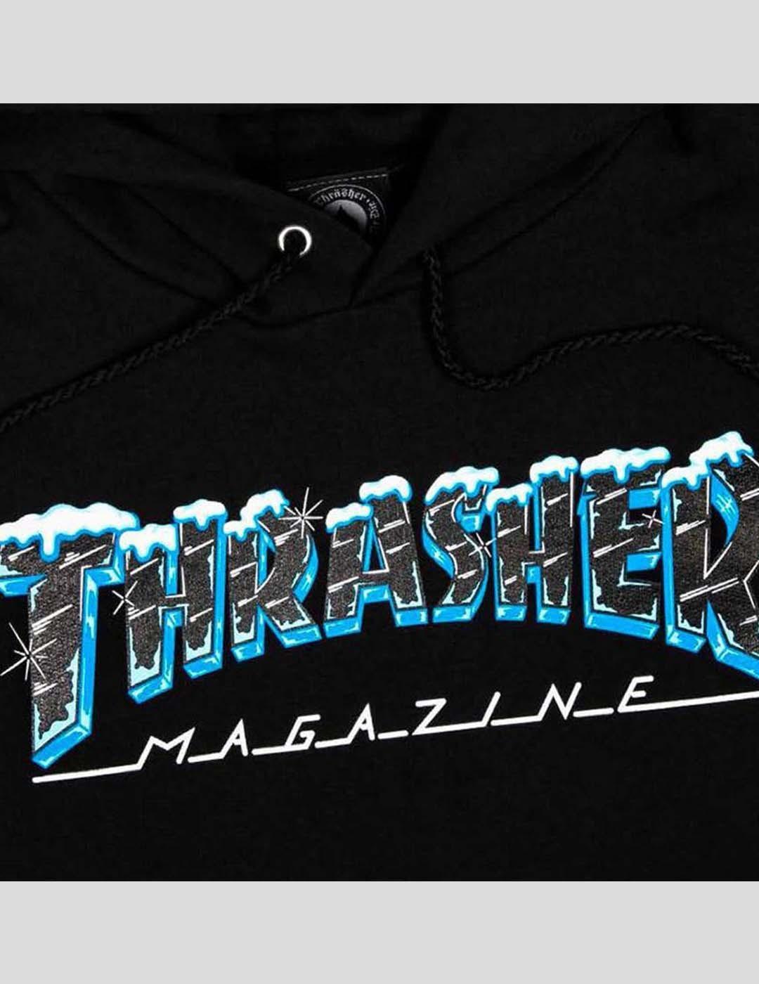 SUDADERA THRASHER BLACK ICE HOOD BLACK