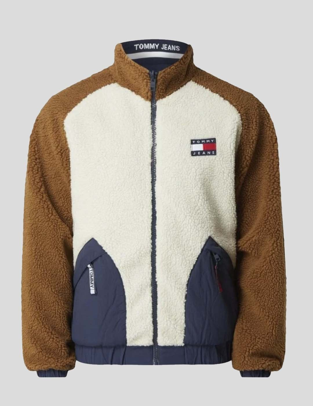 CHAQUETA TOMMY JEANS REVERSIBLE RETRO SHERPA JACKET BEIGE BROWN NAVY