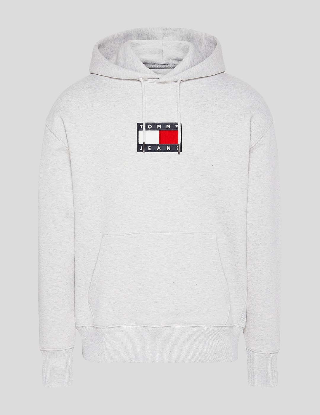 SUDADERA TOMMY JEANS SMALL FLAG HOODIE SILVER GREY HTR